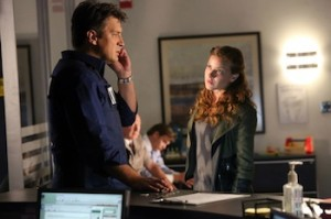 """CASTLE - """"Number One Fan"""" – A desperate young murder suspect, Emma Briggs, (guest star Alicia Lagano, """"The Client List,"""") takes hostages at gunpoint then mysteriously insists that she will only negotiate with one person: Richard Castle, on """"Castle,"""" MONDAY, OCTOBER 14 (10:01-11:00 p.m., ET) on the ABC Television Network. (ABC/Richard Cartwright)"""