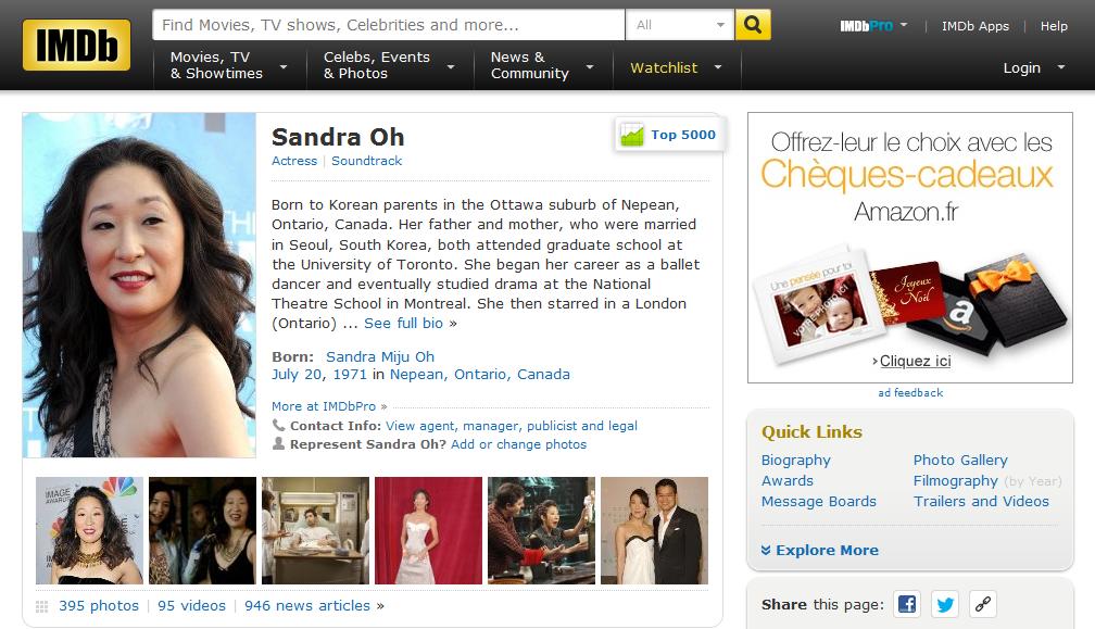 Sandra Oh IMDb Page