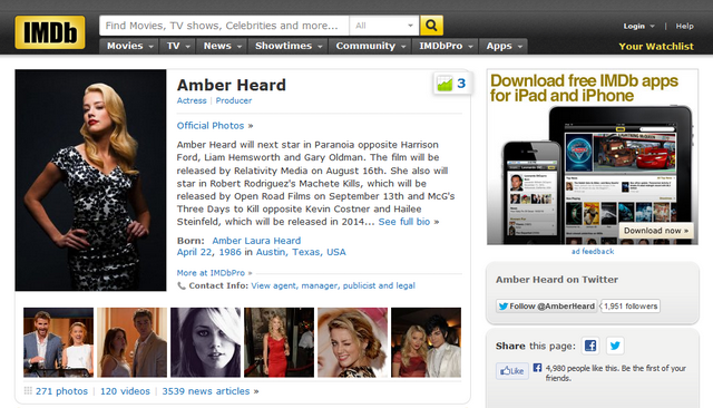 Amber Heard IMDb Page