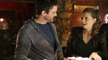 "CASTLE - ""For Better or Worse"" - Castle and Beckett's long-awaited wedding is almost here, but when a shocking surprise threatens to ruin the big day, they are sent on a wild mission filled with masked men, angry bikers and a charming ne'er-do-well from Beckett's past (guest star Eddie McClintock as Rogan O'Leary). MONDAY, MAY 12 (10:01-11:00 p.m., ET) on the ABC Television Network. (ABC/Danny Feld)EDDIE MCCLINTOCK, STANA KATIC"